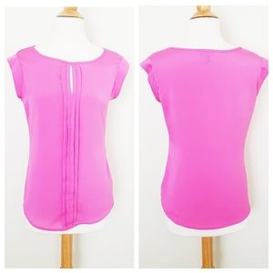 The Limited Barbie Pink Pleated Keyhole Blouse